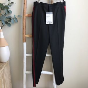 NWT Zara Black Trousers with Red Side Stripe